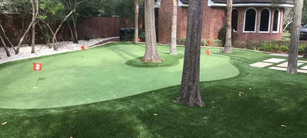 private backyard putting green with trees
