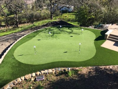 arial view of backyard putting green
