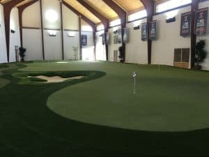 indoor putting green at university
