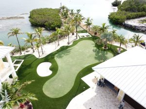 Large putting green and surrounded by palm trees and ocean views