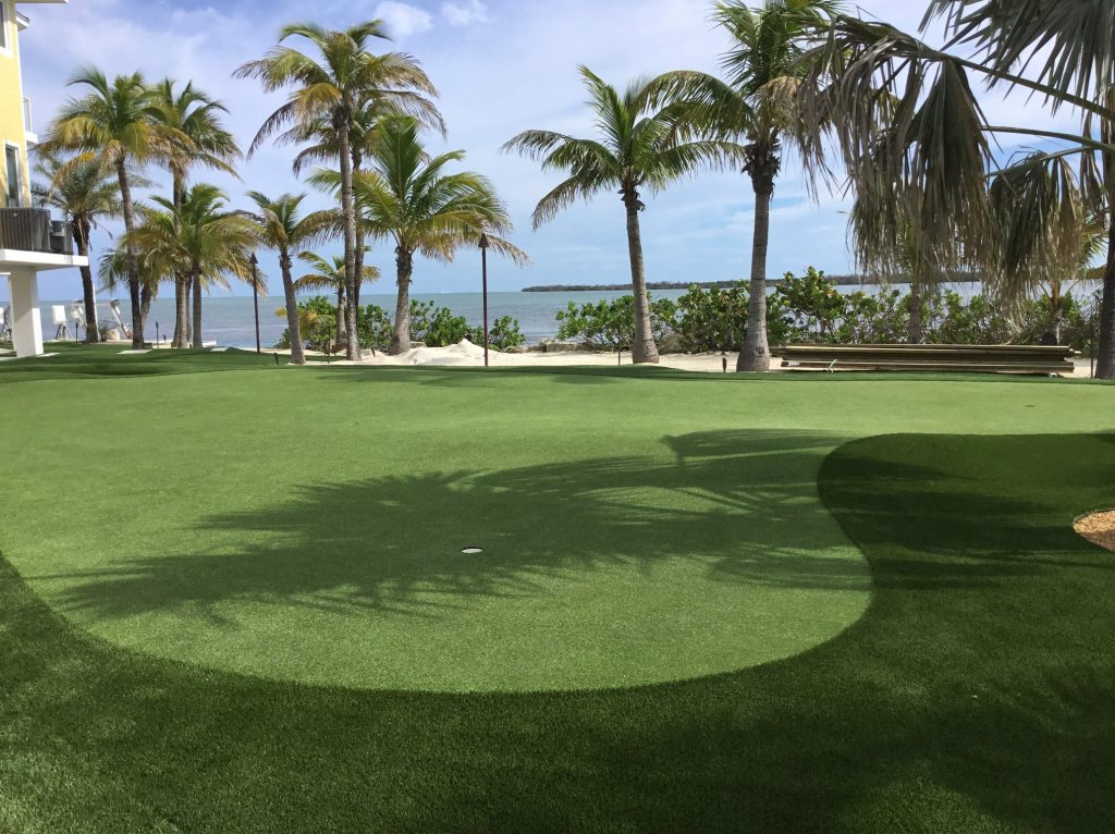 Beautiful oceanfront artificial grass putting green.