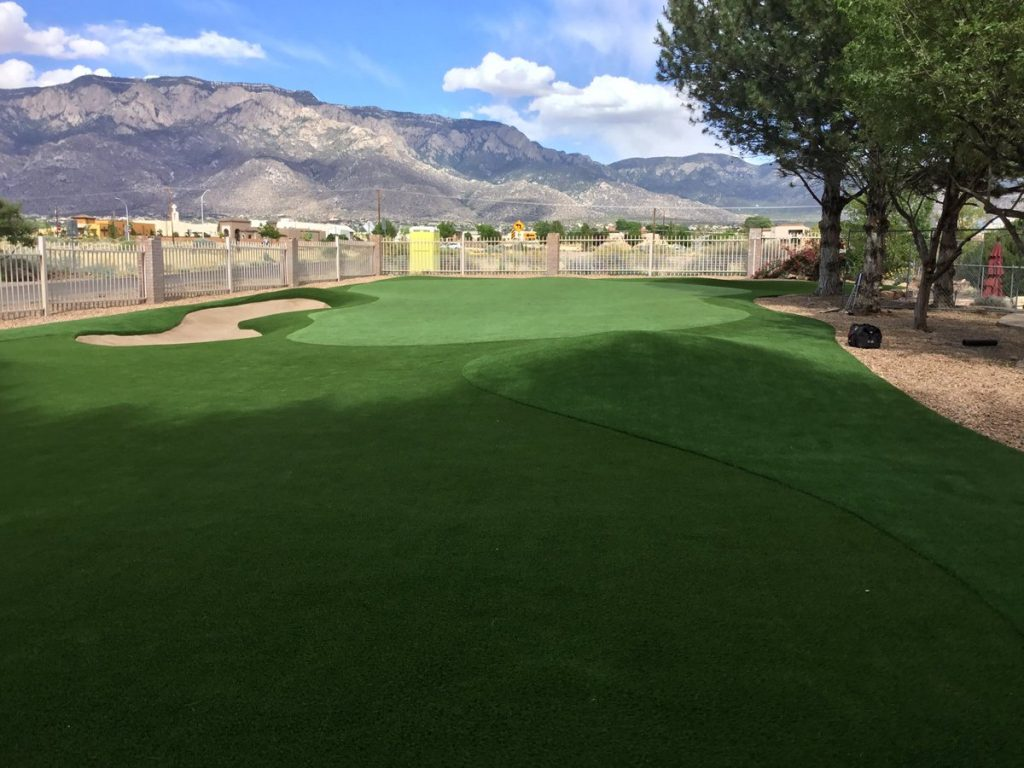 5,000 square foot golf fairway and putting green with sand bunker in Albuquereque