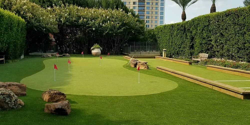 professional synthetic grass putting green and boccee court