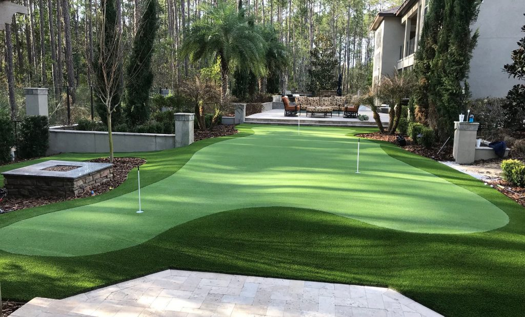 private courtyard with golf green
