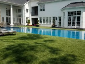 zero edge pool with artificial grass surround