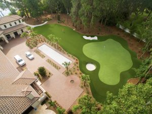 overhead view of par3 private putting green