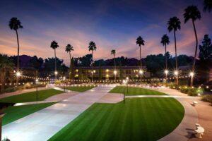 artificial grass at a hotel sunset