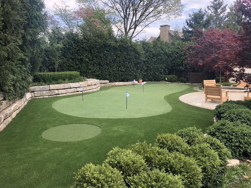 synthetic turf custom putting green with chipping area