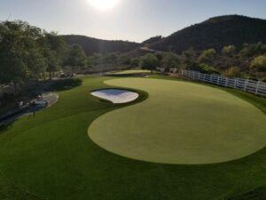 putting green on ranch with sand trap