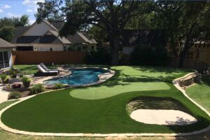 backyard putting green artificial turf with bunker